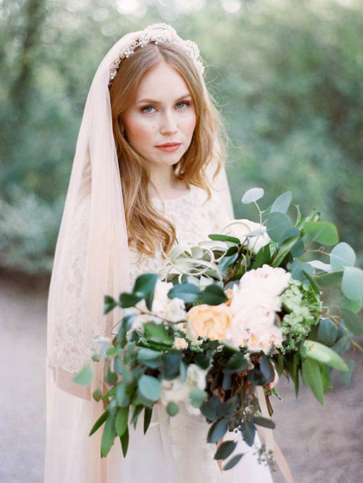 White Ivory Champagne Long Cathedral veil Cut Edge Wedding Veil One Layer Bridal Veil with Comb Wedding Accessories