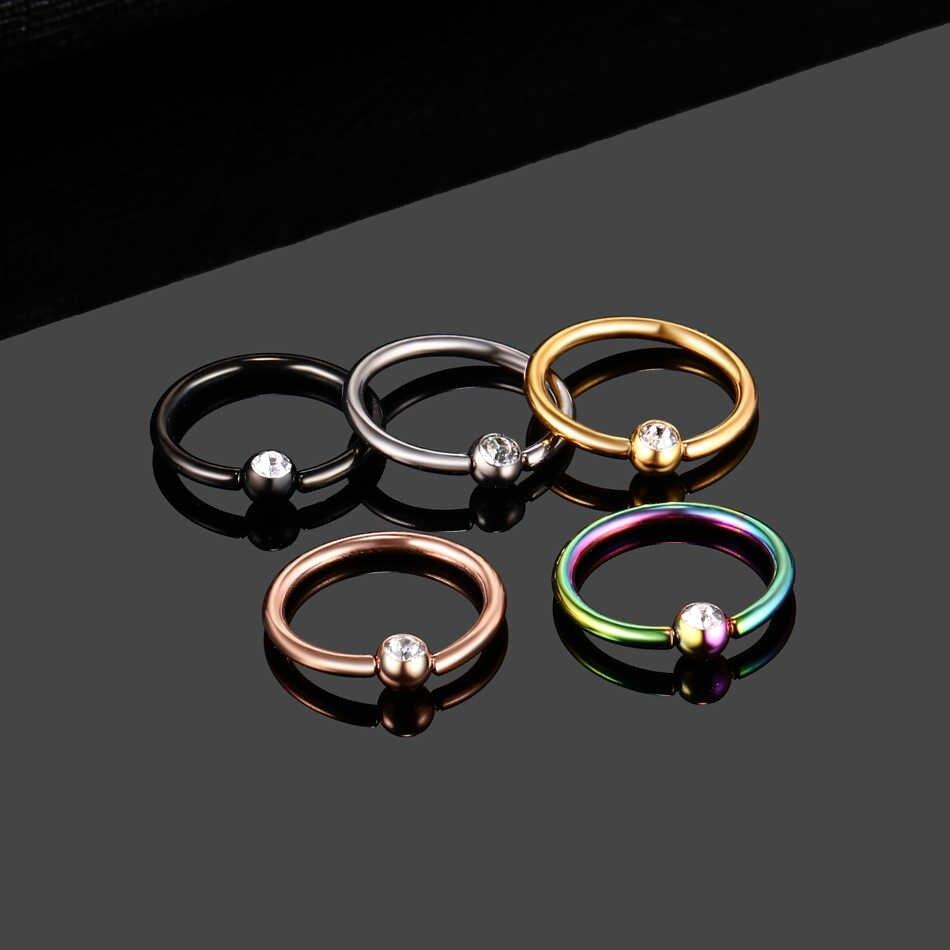 1PC สี Anodized Nose Piercing ต่างหูริมฝีปากแหวน Tragus Ear Piercing ไทเทเนียมและอัญมณีออกแบบ Conch Daith เจาะเครื่องประดับ