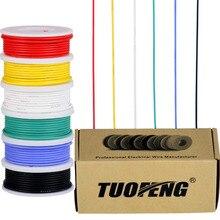 22 прибор Электрический провод, луженая Медный провод комплект 22 AWG Гибкая силиконовая провода (6 разноцветных 26 футов катушки) 600 В электронные