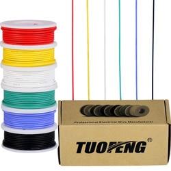 Cable eléctrico de calibre 22, cable de cobre estañado, cable de silicona Flexible de 22 AWG (carretes de 6 colores diferentes de 26 pies) electrónico de 600 V