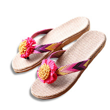 Summer Women Linen Slippers Flower Ribbon Sandals Flat EVA Non-Slip Linen Slides Home Flip Flop Health Straw Lady Beach Shoe