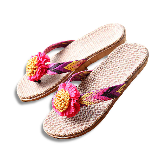 271cdbcead56c New Summer Women Linen Slippers Flower Ribbon Sandals Flat EVA Non-Slip  Linen Slides Home Flip Flop Health Straw Lady Beach Shoe