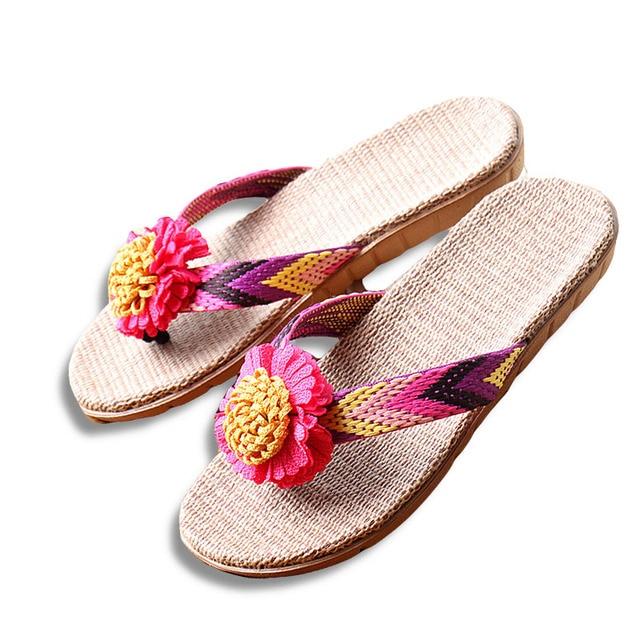 Phụ Nữ Mùa Hè mới Dép Lanh Flower Ribbon Dép Phẳng EVA Non-Slip Linen Slide Nhà Flip Flop Sức Khỏe Straw Lady Bãi Biển giày