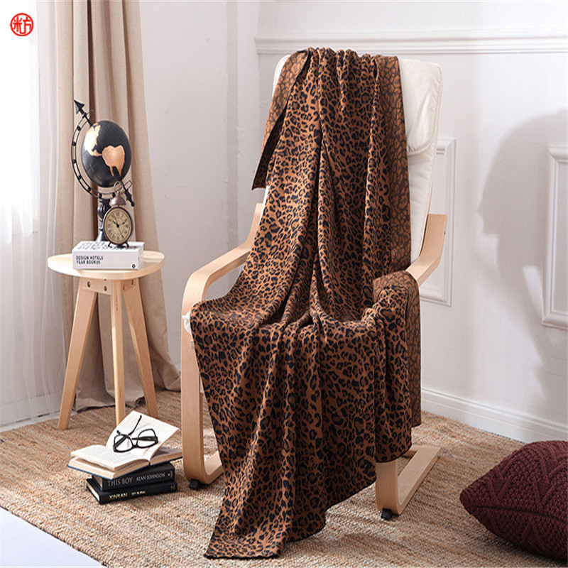 2017 Brown Leopard thread blanket gray knitted air conditioning sofa blanket 100% cotton 200*230cm soft bed sheet home textile цены онлайн
