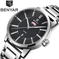 BENYAR Luxury Brand Auto Date Man Watches Men's Week Display Quartz Watches Man Army Military Wrist watch Relogio Masculino