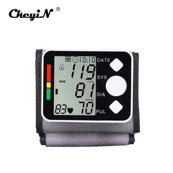 Digital Definisi Tinggi Manset Tonometer Tampilan Layar LCD Monitor Tekanan Darah Pergelangan Tangan Perangkat Heart Pulse Rate Meter Tensile Stress