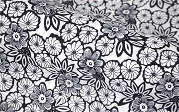 Pure Cotton Blue Calico Black White Morning Glory Flowers Patterns