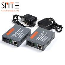 Una coppia HTB 3100 HTB 3100A/B 25KM netLINK 10/100M Single mode Singola fibra WDM convertitore di Mezzi della fibra UN 1310nm TX, B 1550nm TX