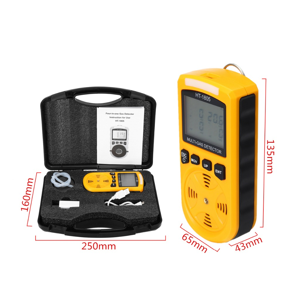 4 in 1 Portable LCD Display Digital Gas Tester Detector Oxygen LEL CO H2S Gas Density