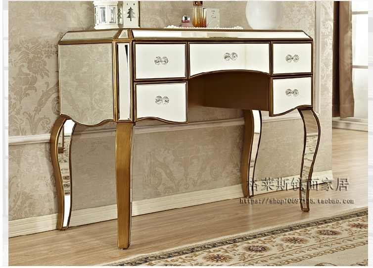 Palace Style 100cm Dresser Cabinet and Stool / Mirror and Gold Surface Panel / Silver Option and Customized Size