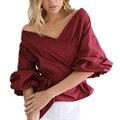 2016 Осень Женщин Сексуальная Мода Блузка V Шеи Puff Рукавом крест Повязку Галстук-Бабочку Пояса С Плеча Блузки Рубашки Дамы топы
