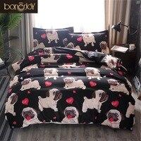 Bonenjoy Animal Bedding Black Color Bulldog Printed Double/Queen/King Size Duvet Cover Set Single Beddings and Bed Set