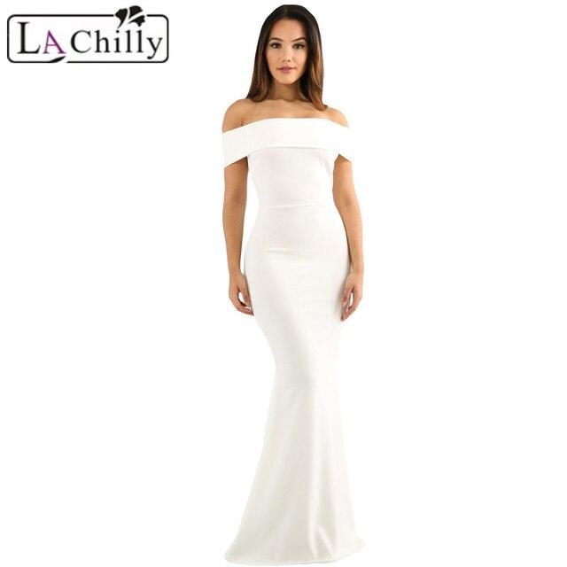 e2f240786e La Frio Vestido Largo Outono Vestidos Robe Vetement Femme Sexy Slinky  Branco Fora Do Ombro Longo