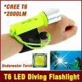 2000LM CREE XML-T6 LED Lanttern Waterproof underwater scuba Dive Diving Flashlight Dive Torch light lamp for diving