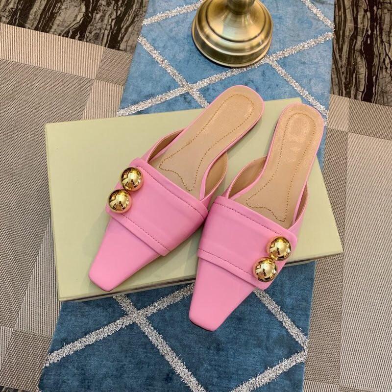 Leahter Décoration Femme Chaussons Pantoufles Femmes Métal Plats Zapatillas Pic Pour As Décontracté De Mujer Orteil as Couverture D'été Chaussures Chaude Pic wP1rqx6PX