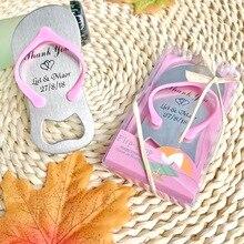 200 шт./лот)+ пляжные свадебные сувениры на заказ флип-флоп открывалка для бутылок Персонализированные Свадебные сувениры для гостей