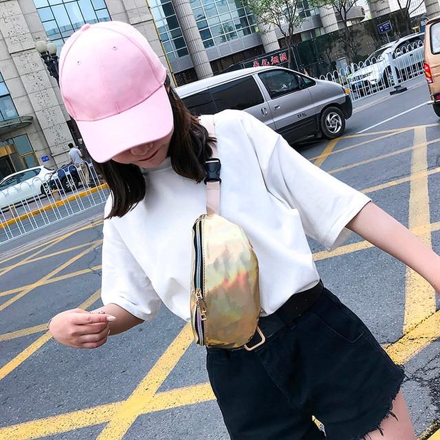 Для женщин мода Лазерная кожаная сумка-мессенджер сумка Грудь сумка MAY22