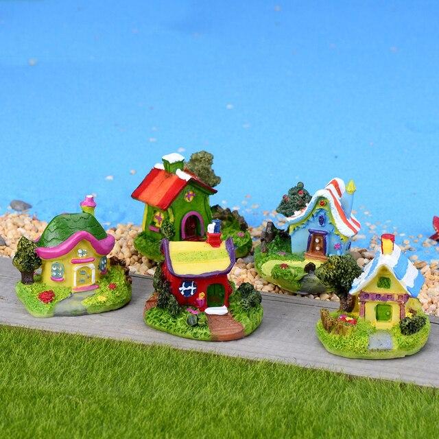 Mini Castle Cartoon House Villa Mini Buildings Miniatures Fairy Garden Gnome Moss Terrarium Decor Crafts Bonsai Home Decor 3