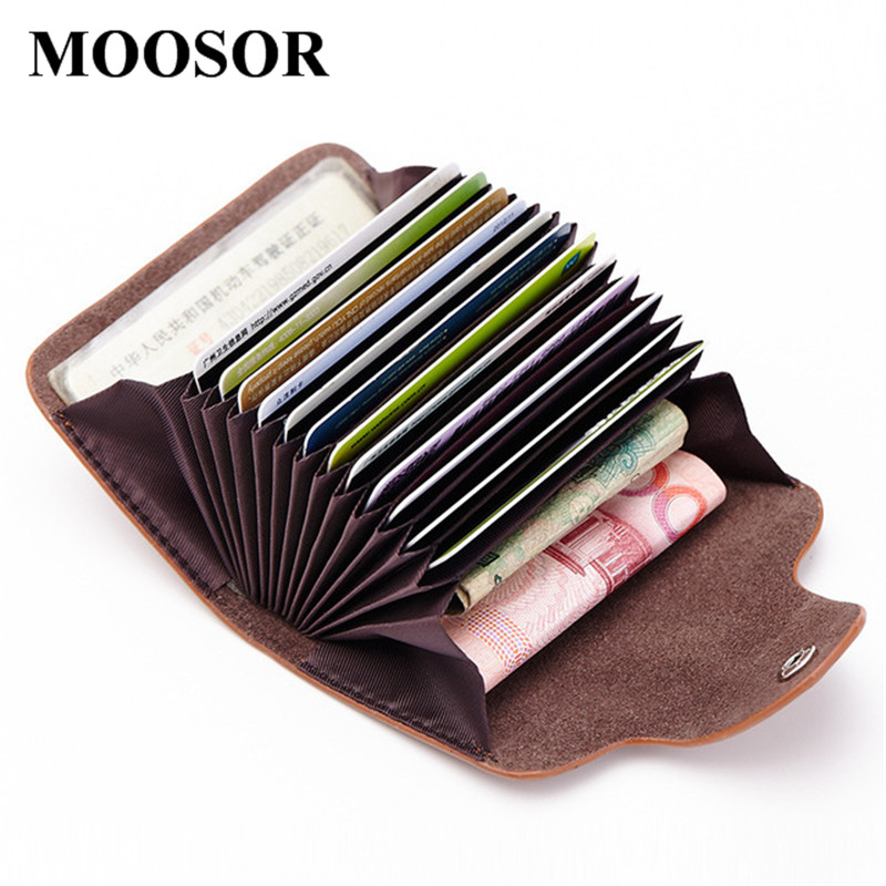 2018 Genuine Leather Women Men ID Card Holder Card Wallet Credit Card Holder Business Card Holder Organizer Pillow Purse DC168 nahoo lanyard id badge clip name label plastic badge leather card holder vertical credit card bus card holder office supplies