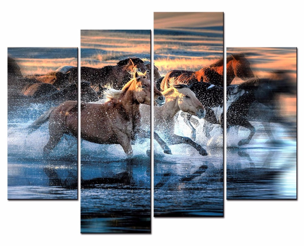 Hot Sale HOT Framed 4Pieces/set Galloping horse Wall Art For Wall ...