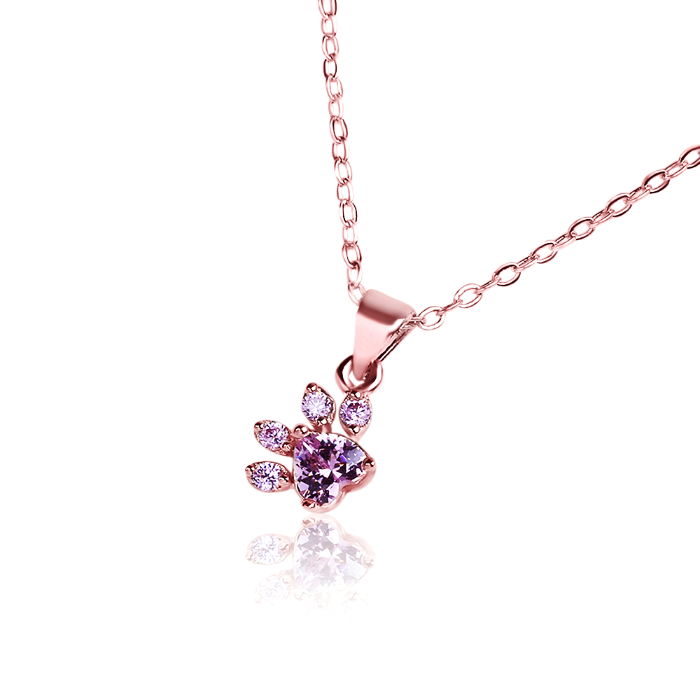 New Arrival Cute Bear Paw Dog Cat Claw Pendant Necklace Rose Gold CZ Love Footprint Choker For Women Romantic Wedding