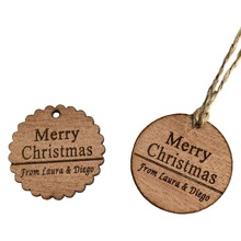 30PCS/50PCS/10 Personalized Wooden Round tags Merry Christmas Gift Tags Engraved Circle Wood