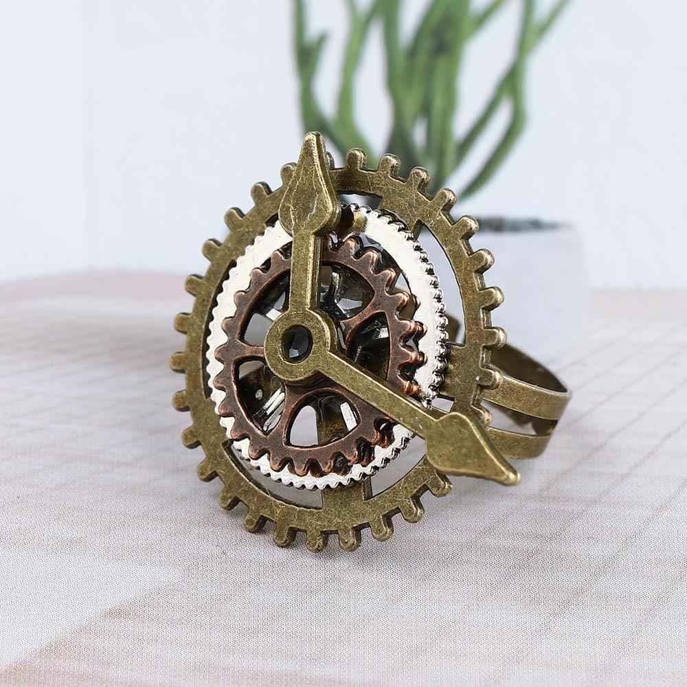 PUNK Retro Charm Steampunk แหวนโบราณเกียร์นิ้ว VINTAGE นาฬิกานาฬิกาแหวนทองแดงเครื่องประดับสำหรับผู้หญิง anillos mujer