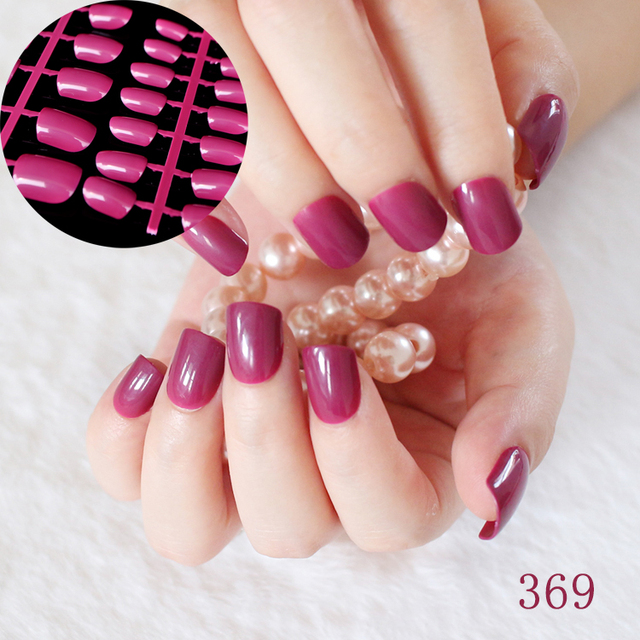 24pcs Flat Candy Fake Nails Dark Purple Red Press On Nails Short