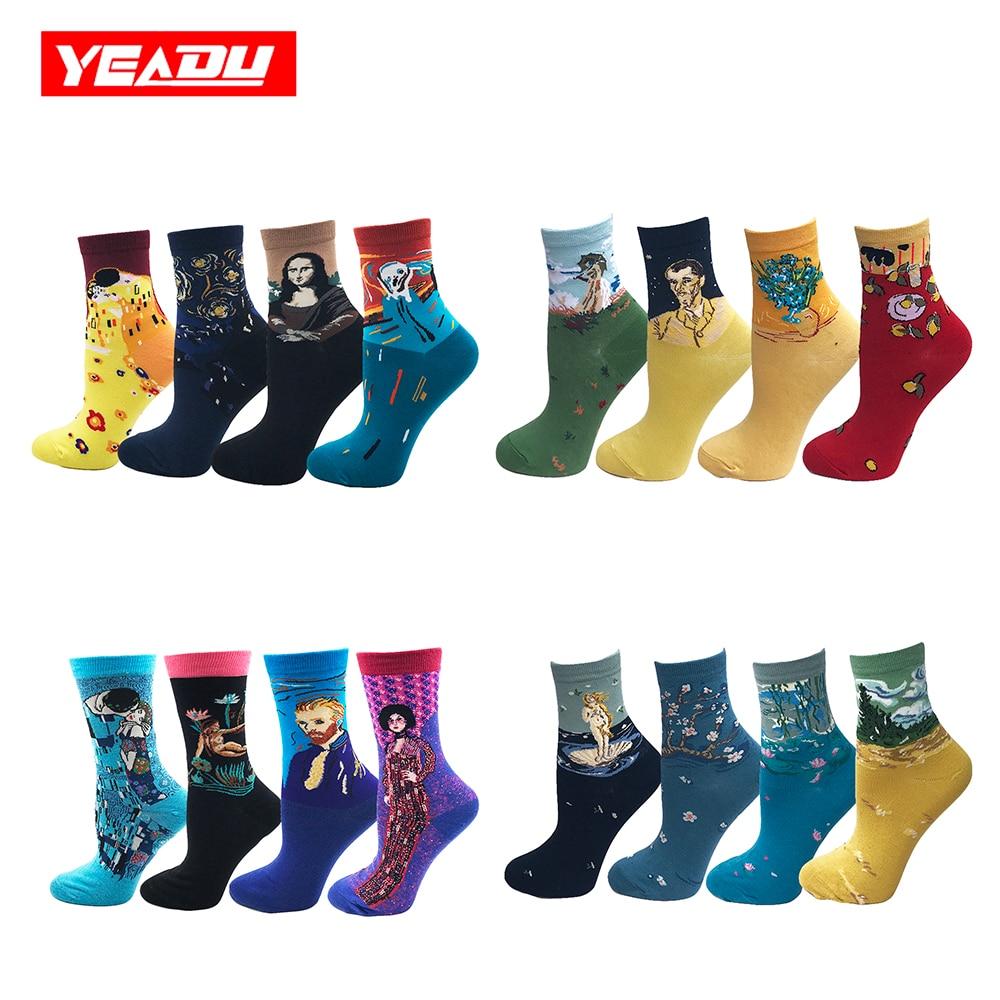 YEADU 4 Pairs/Lot Retro Art Cotton Women's Crew   Socks   Funny Sunflower Plum Van Gogh Novelty Harajuku Kawaii Happy Sox for Girl