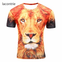 2017 Harajuku hip-hop street style 3D print T-shirt animal pattern lion king breathable casual Slim men young short-sleeved hot