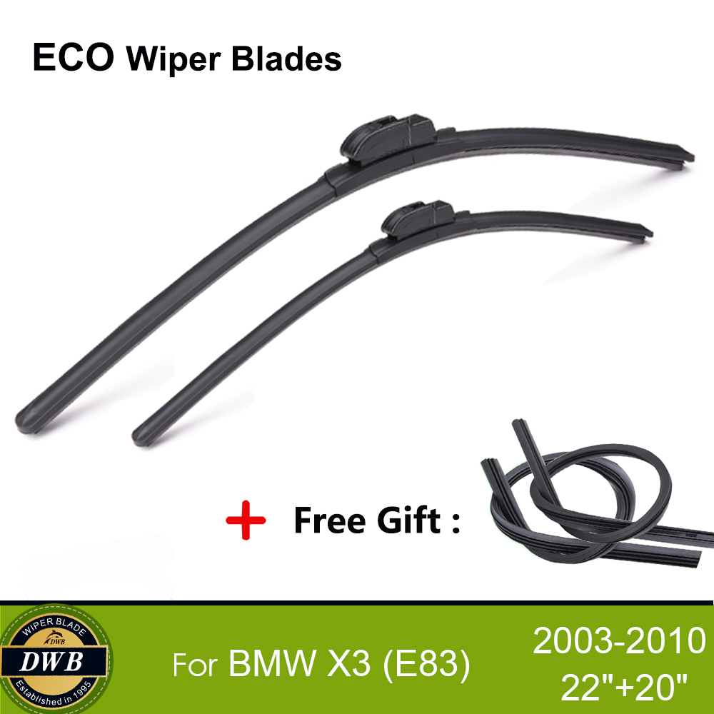 2pcs eco wiper blades for bmw x3 e83 2003 2010 22 20 free gift 2pcs rubbers replacing windshield wipers