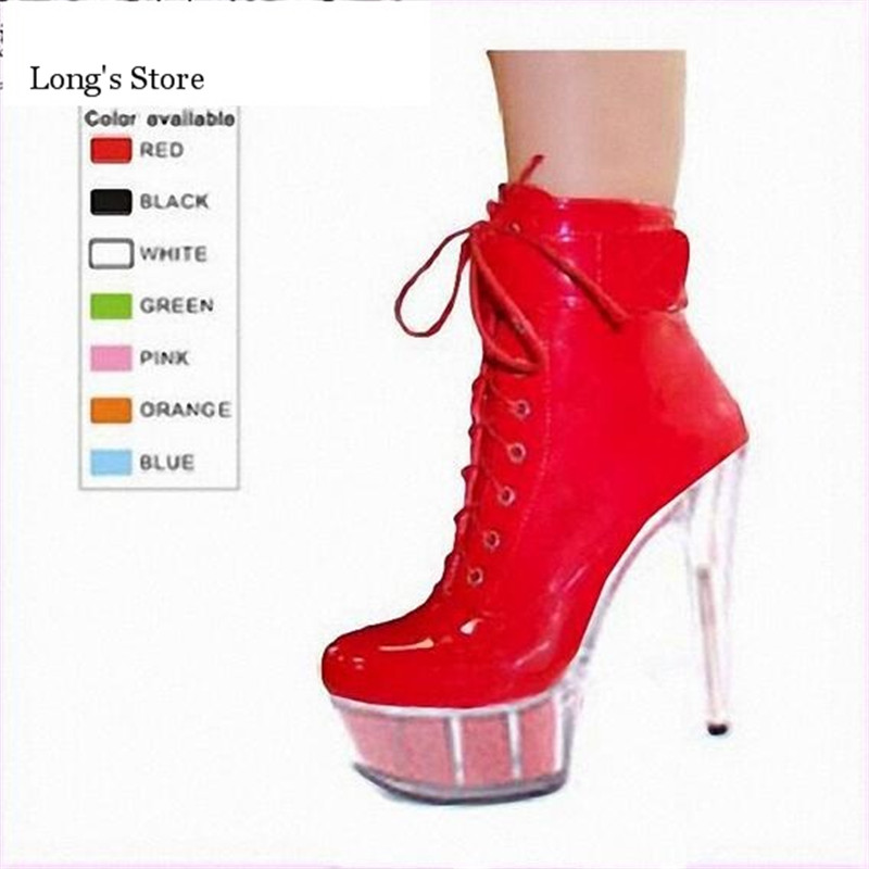 ФОТО CDTS Plus:35-45 46 2016 Spring/Summer 15CM ladies Work Boots thin high heels Crystal platform pumps woman shoes