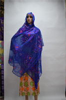 Popular blue Net embroidery women African scarf with stones ,nice design small net badanas ESF10, 1.2M*2M