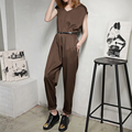 Spring Summer New Korean Style Jumpsuit Slim V-neck Wireless Casual Jumpsuit for Women