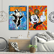 Mr Monopolyingly Art Street Graffiti Mimo Canvas Painting Scrooge Mickey Mouse Poster Wall HD Picture for Living Room Home Decor
