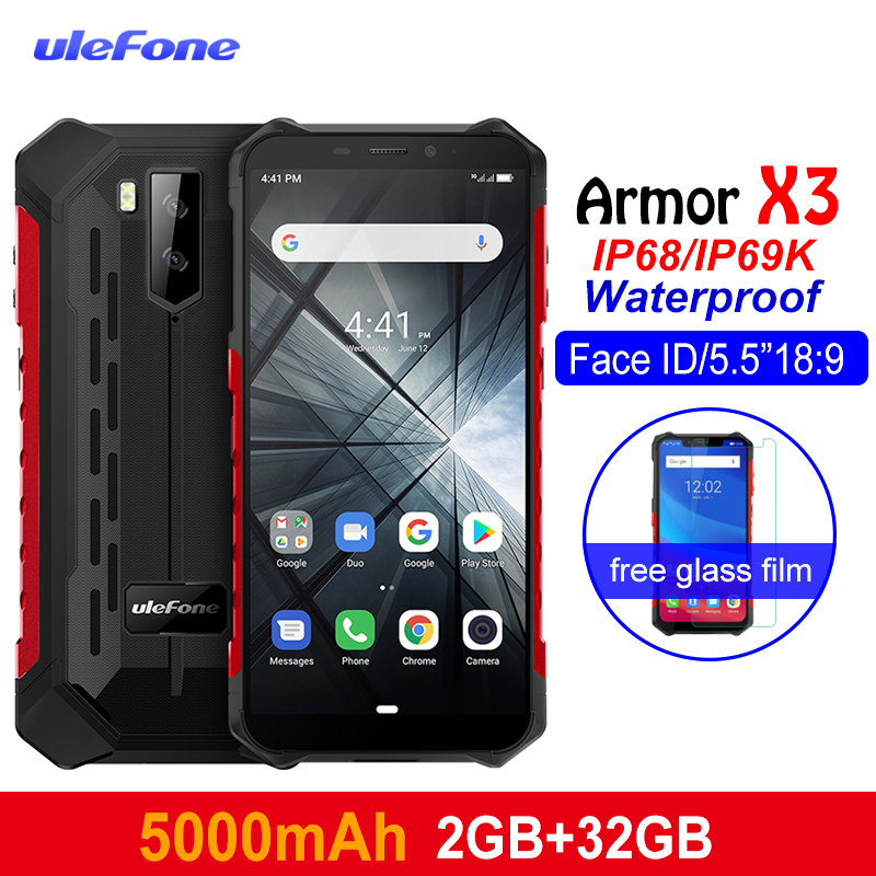 "Ulefone Armor X3 IP68 Waterproof Shockproof Mobile Phones 5.5"" HD MT6580 Android 9.0 Quad Core 2GB 32GB 5000mAh 13MP Smartphone(China)"