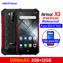 Ulefone Armor X3 teléfonos resistentes Android 9,0 IP68/IP69K impermeable 2 GB 32 GB MT6580 5,5 pulgadas HD + 8MP 5000 mAh cara ID 3G Smartphone