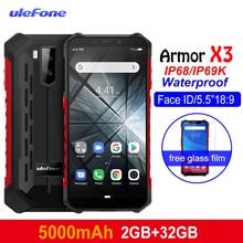 Ulefone درع X3 وعرة الهواتف الروبوت 9.0 IP68/IP69K للماء 2 GB 32 GB MT6580 5.5 بوصة HD + 8MP 5000 mAh ID الوجه 3G الهاتف الذكي