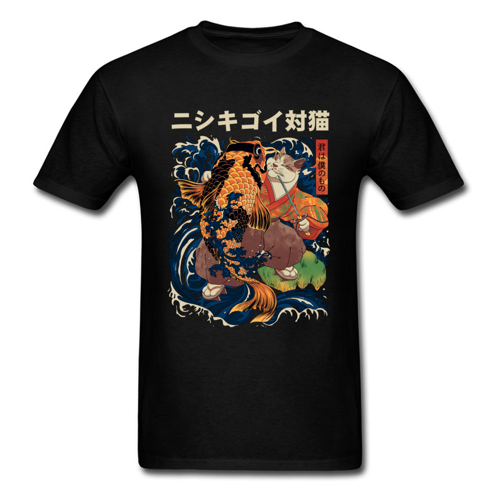 Japanese Warrior Cat PK Koi Carp Men T Shirt Summer Male Tops/Tees Black T-Shirt Funny Designers Fashion Printing Tshirt 2018