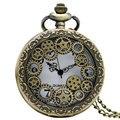 Chegam novas Steampunk Vintage Bronze Oco Engrenagem Relógio De Bolso Cadeia Colar Pingente de Homens das Mulheres 2016