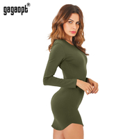 Gagaopt 4 Color Autumn Dress 95 Cotton Long Sleeve Split Open Side Sexy Mini Bandage Party