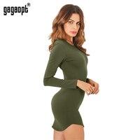 Gagaopt 4 Color Autumn Dress 95 Cotton Long Sleeve Split Open Side Sexy Mini Bandage Party