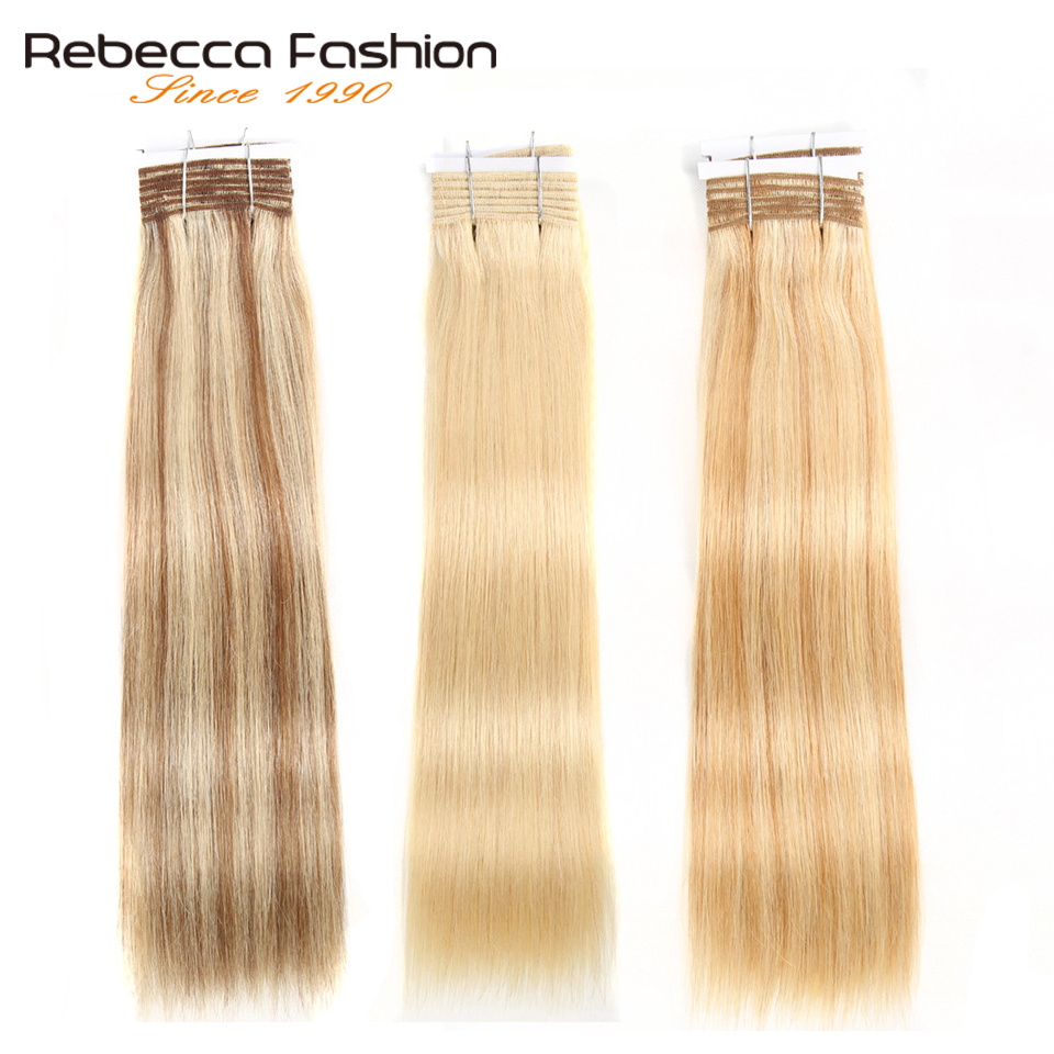 Rebecca Double Drawn Hair 113g   Silky Straight  Hair Piano Brown 613 Blonde Colors  Bundles 1pc 2