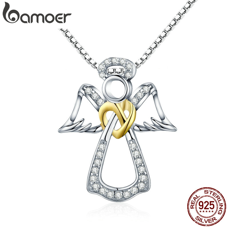 BAMOER Authentic 925 Sterling Silver Guardian Angel Heart Pendant Necklaces Dazzling CZ Luxury Sterling Silver Jewelry SCN123BAMOER Authentic 925 Sterling Silver Guardian Angel Heart Pendant Necklaces Dazzling CZ Luxury Sterling Silver Jewelry SCN123