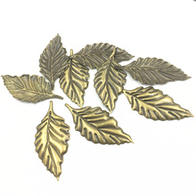 10Pcs Embellishments Metal Connectors Antique Bronze Tone Leaf Leaves Stamping Cameos Decoration Scrapbook DIY Findings 54mm
