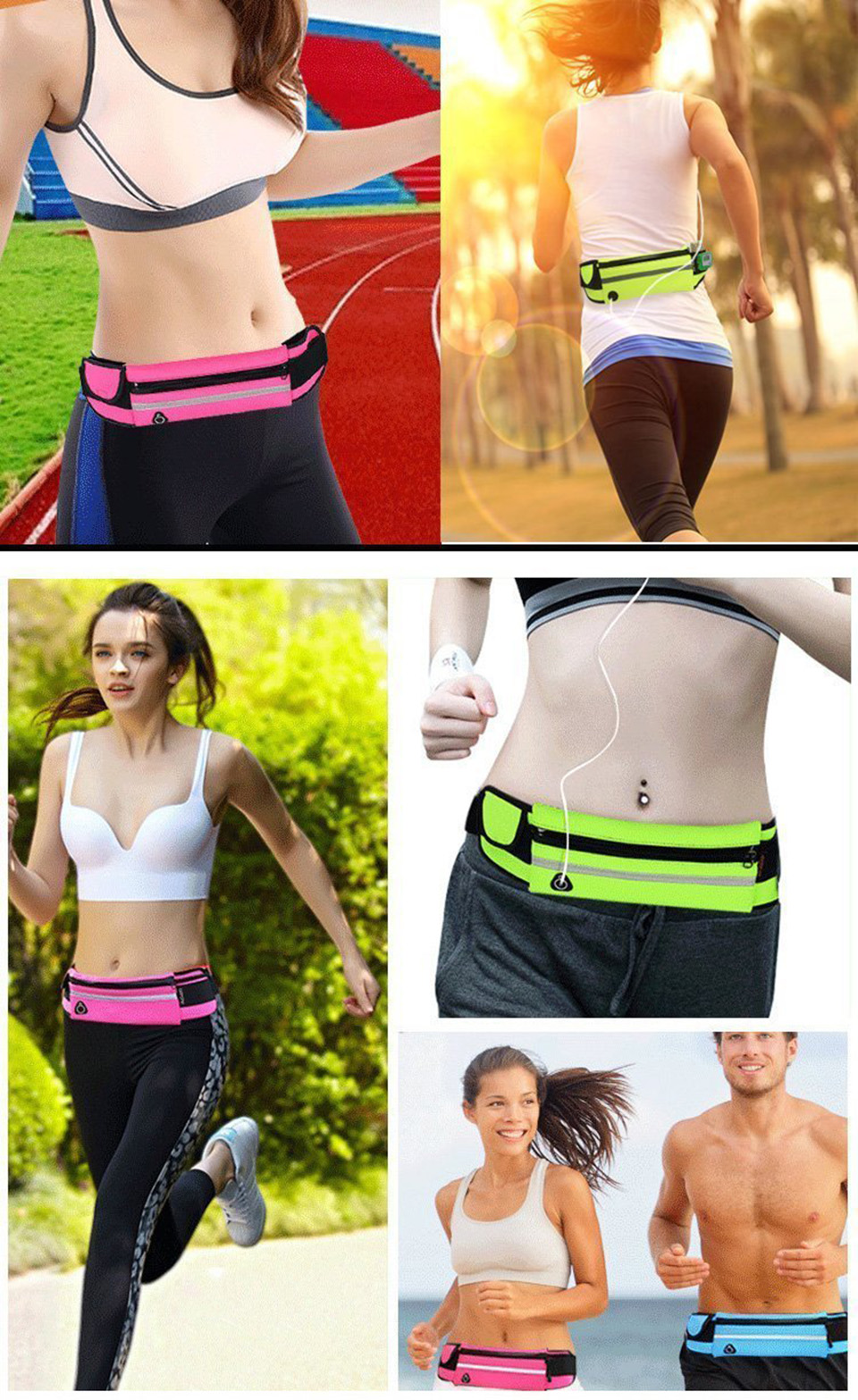 New Outdoor Running Waist Bag Waterproof Mobile Phone Holder Jogging Belt Belly Bag Women Gym Fitness Bag Lady Sport Accessories 22