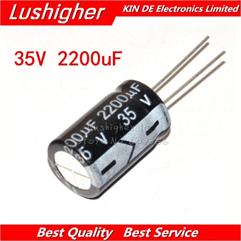 5PCS 35V2200UF 16*25mm 2200UF 35V 16x25 Mm Aluminum Electrolytic Capacitor