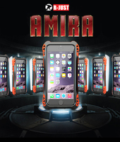 R JUST AMIRA Shockproof Carbon Fiber Metal Aluminum Armor Waterpro Back Case Cover For Apple IPhone