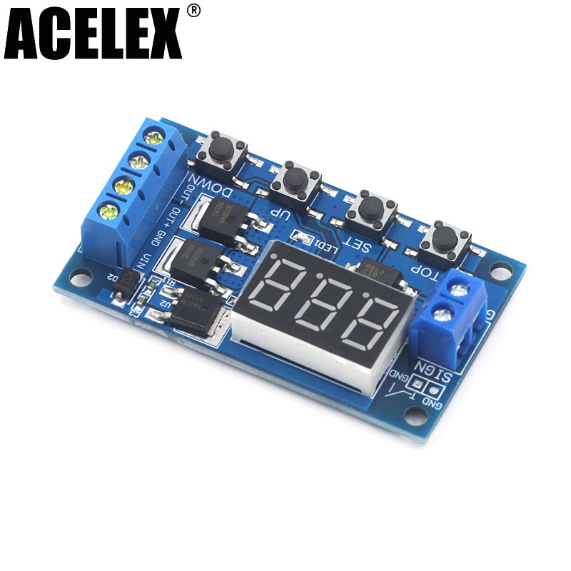 Trigger Cycle Timer Delay Switch 12 24V Circuit Board Dual MOS Tube Control ModuleTrigger Cycle Timer Delay Switch 12 24V Circuit Board Dual MOS Tube Control Module