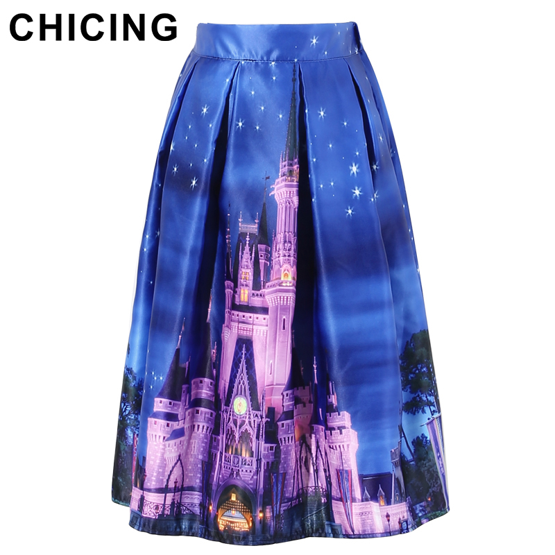 aliexpresscom buy chicing new 2016 women skater skirts vintage castle building 3d printed night view high waist pleated flared tutu skirt a1601011 from - Purple Castle 2016